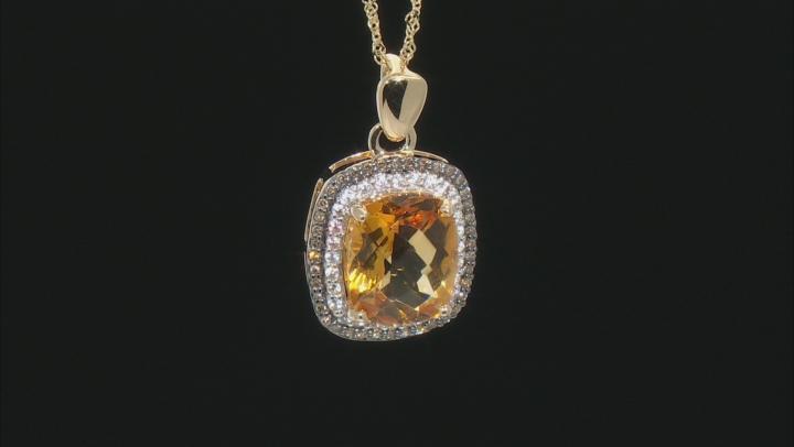 Golden Citrine, White Zircon, And Champagne Diamond 10k Yellow Gold Pendant With Chain 4.11ctw