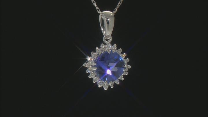 Blue Tanzanite Rhodium Over 10k White Gold Pendant With Chain 1.55ctw