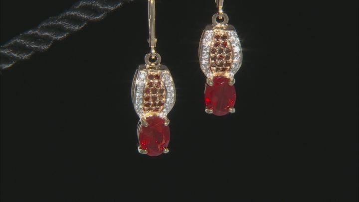 Red Labradorite 10k Yellow Gold Earrings 2.23ctw