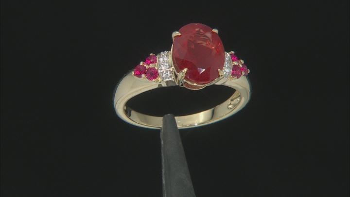 Red Labradorite 10k Yellow Gold Ring 2.21ctw