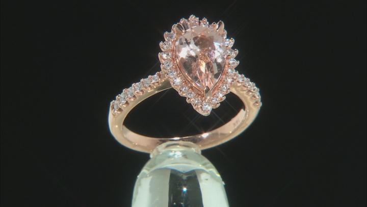 Pear Cor De Rosa Morganite And Diamond 14k Rose Gold Ring 2.00ctw