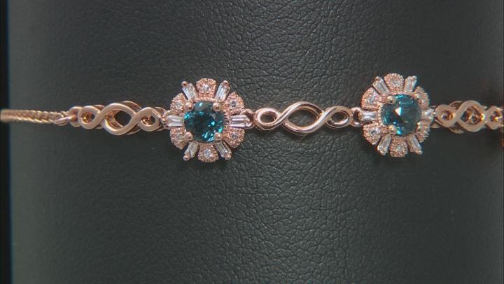 London Blue Topaz With Diamond 14k Rose Gold Bolo Bracelet 1.16ctw