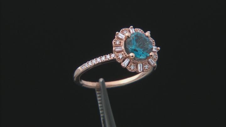 London Blue Topaz With Diamond 14k Rose Gold Ring 1.87ctw