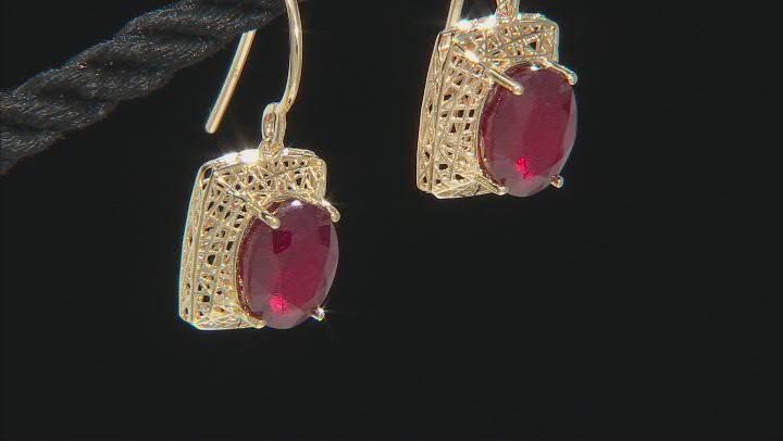Red Mahaleo® Ruby 10k Yellow Gold Dangle Earrings 5.94ctw