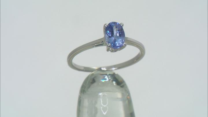 Blue Tanzanite Rhodium Over 10k White gold Ring 0.75ctw