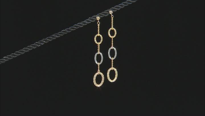10K Two-Tone Diamond-Cut Oval Drop Earrings