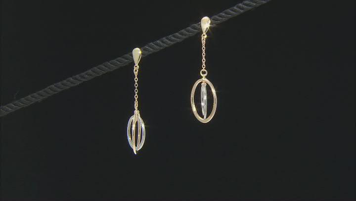 10K Two-Tone Double Oval Drop Earrings