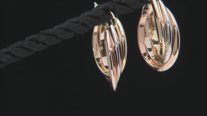 14K Yellow Gold, 14K White Gold, and 14K Rose Gold Over 14K Yellow Gold 15MM Tube Hoop Earrings