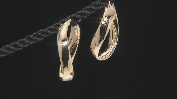 14K Yellow Gold Wavy Hoop Earrings