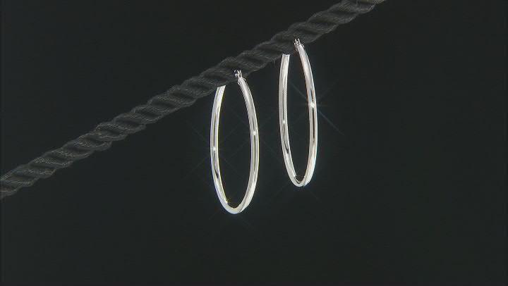 Rhodium Over 14K White Gold 30MM Tube Hoop Earrings
