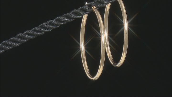 14K Yellow Gold 35MM Tube Hoop Earrings
