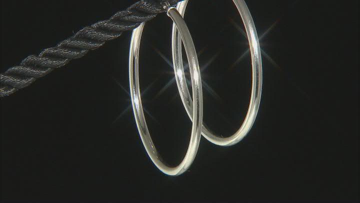 Rhodium Over 14K White Gold 35MM Tube Hoop Earrings