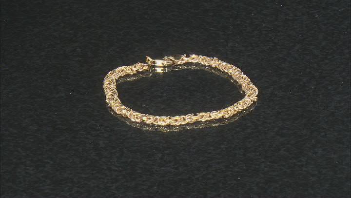 10K Yellow Gold 5MM High Polished Byzantine Link Bracelet