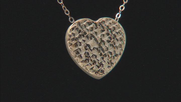 10K Yellow Gold Diamond-Cut Heart 18 Inch Necklace