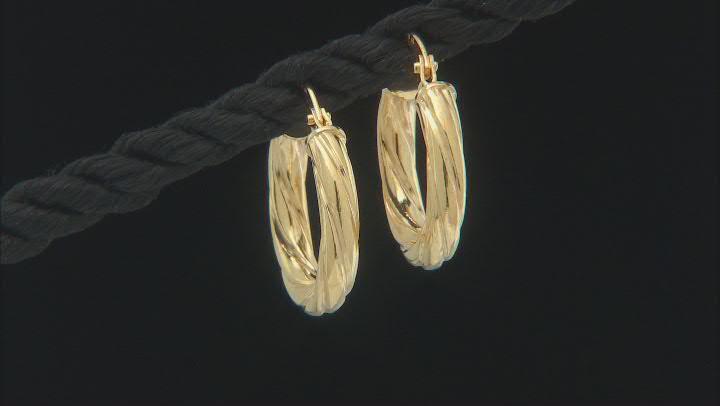 10K Yellow Gold 2x17MM Twist Tube Hoop Earrings