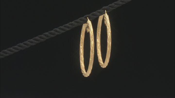 10K Yellow Gold Textured Tube Hoop Earrings