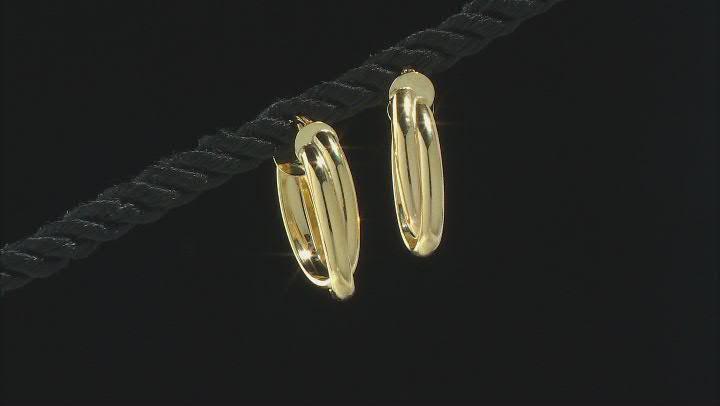 10K Yellow Gold Double Oval Tube Hoop Earrings