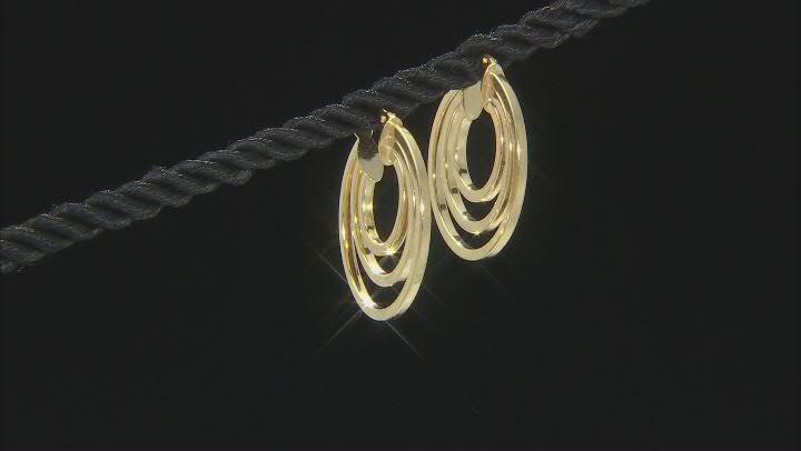 10K Yellow Gold Triple Tube Hoop Earrings