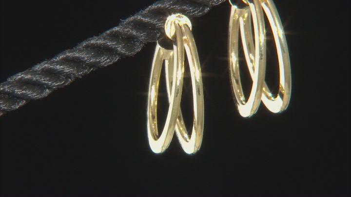 10K Yellow Gold Double Tube Hoop Earrings