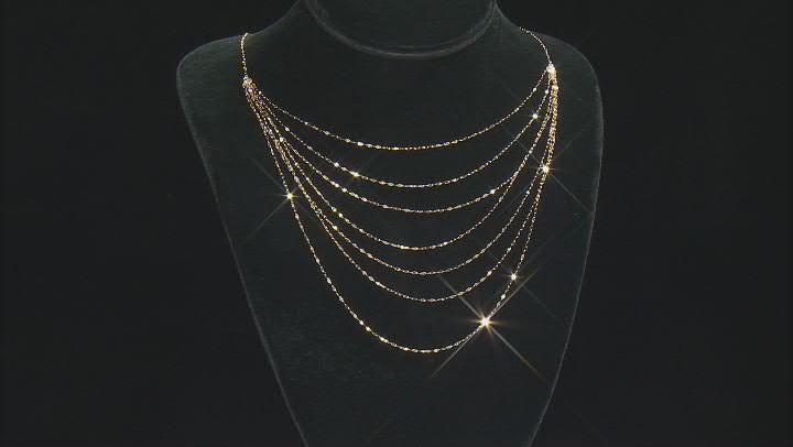 10K Yellow Gold Diamond Cut Multi-Layer Valentino Necklace