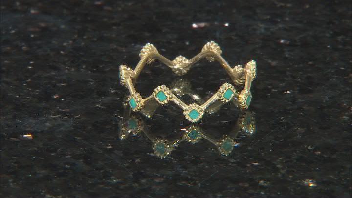 10K Yellow Gold Turquoise Enamel Crown Band Ring