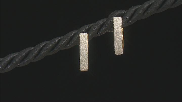 10K Yellow Gold Brillante 3x10MM Square Tube Hoop Earrings