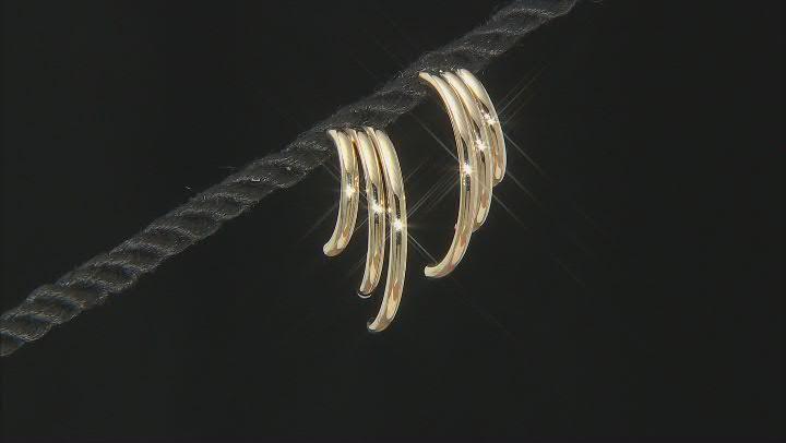 10K Yellow Gold Three-Row Tube J Hoops Earrings
