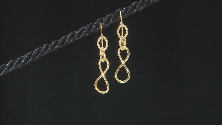 10K Yellow Gold Infinity Dangle Drop Tube Earrings