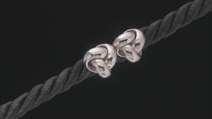 14K White Gold Polished Love Knot Stud Earrings