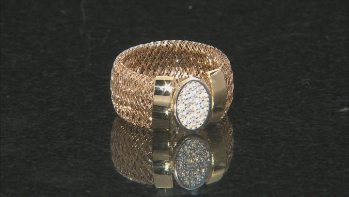 0.18ctw Diamond Simulant Round 10k Yellow Gold Large Mesh Ring