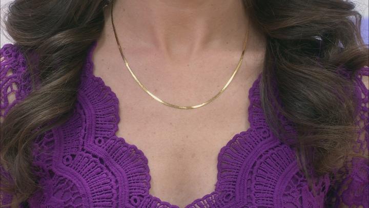 10K Yellow Gold 1MM Herringbone Necklace 18 Inch