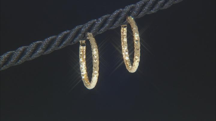 10K Yellow Gold 16MM Diamond Cut Hammered Hoop Earrings