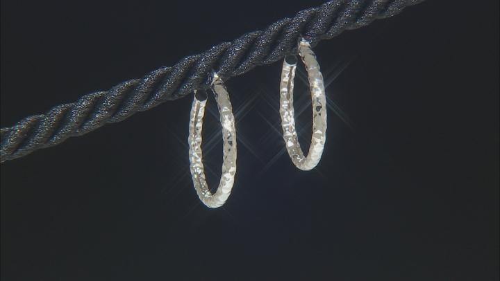 10K White Gold 16MM Diamond Cut Hammered Hoop Earrings