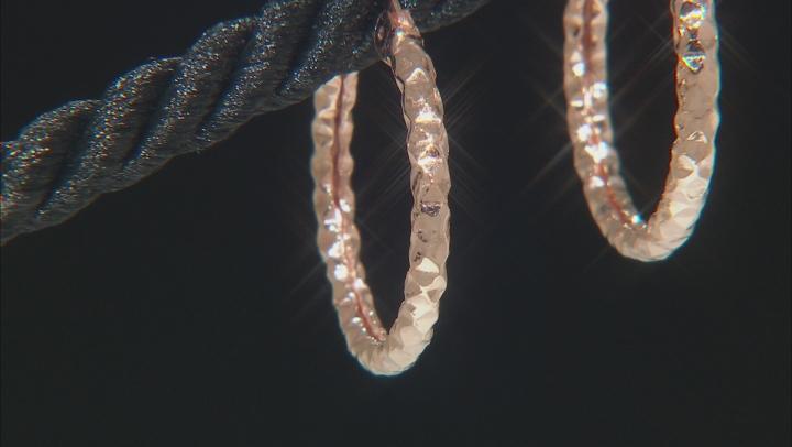 10K Rose Gold 16MM Diamond Cut Hammered Tube Hoop Earrings