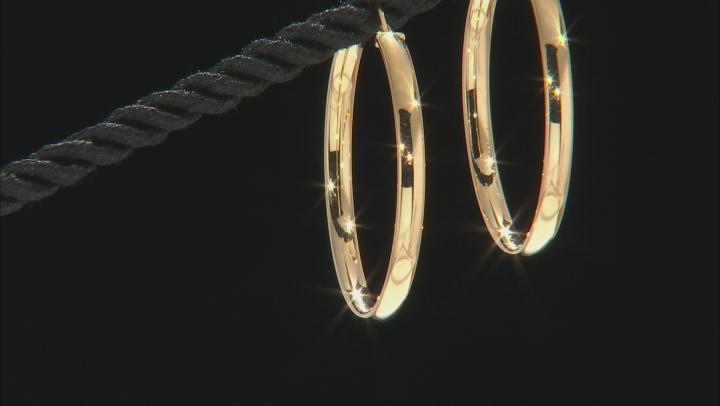 10K Yellow Gold 30mm Mirror Tube Hoop Earrings