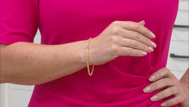 10K Yellow Gold Diamond Cut Rope Chain Bracelet 7.5 Inch