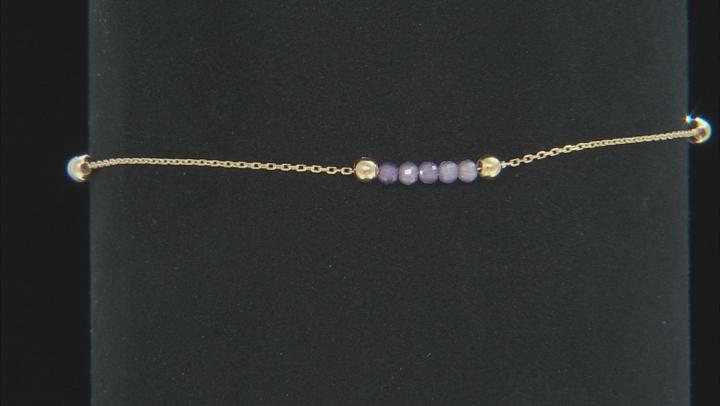 10K Yellow Gold Diamond Cut Rolo Bracelet with  Purple Cubic Zirconia .75ctw