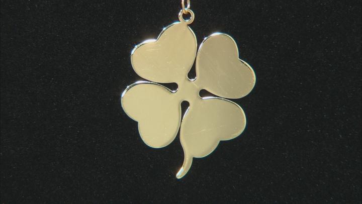 10k Yellow Gold Shamrock Charm Necklace 20