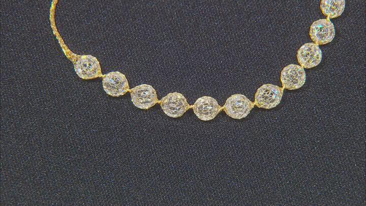 14K Yellow Gold Crochet Slider Bracelet With Cubic Zirconia