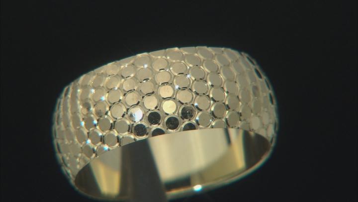 10K Yellow Gold 8MM Snakeskin Diamond Cut Band Ring