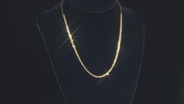 10k Yellow Gold Multi-Row Brillo Necklace 18 Inches