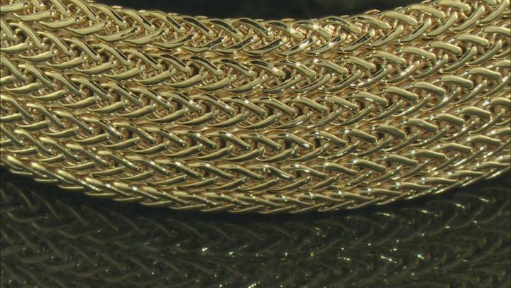 10k Domed Multi-strand 15mm Wheat Bracelet 7.5 Inches