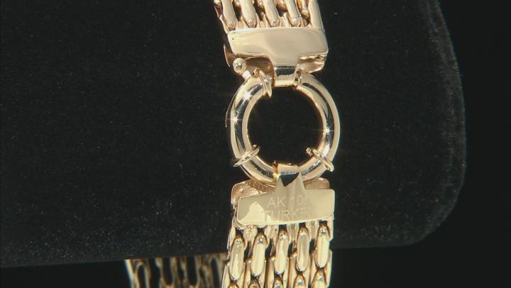 10K Yellow Gold 12.70MM 5 Multi-Row Chain 8 Inch Bracelet