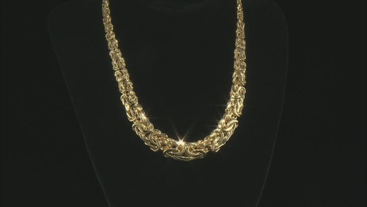 10K Yellow Gold 16.30MM Graduated Bold Byzantine 18 Inch Necklace