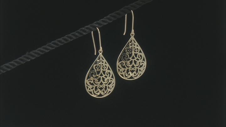 10K Yellow Gold Scroll Design Diamond Cut 1.80 Inch Pear Shape Earrings