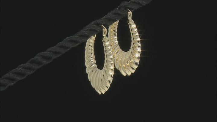 10k Yellow Gold Ribbed Edge Hoop Earring