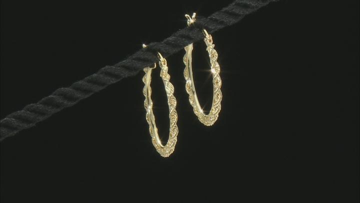 10k Yellow Gold Polished Rope Hoop Earrings
