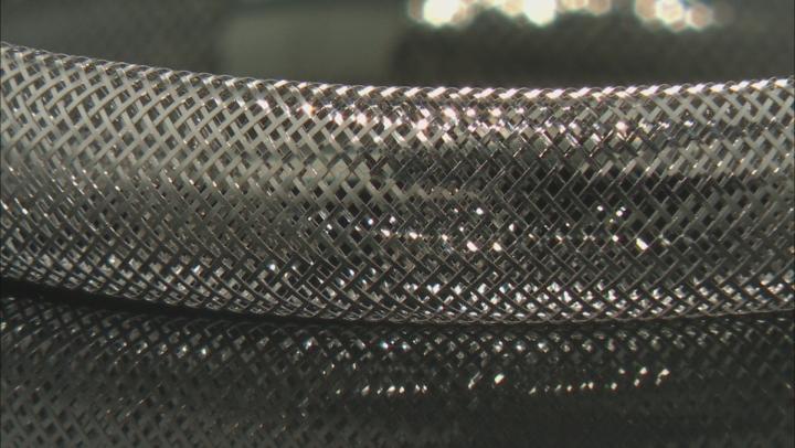 Rhodium Over 10K Gold 8MM Domed Stretch Mesh Bangle Bracelet
