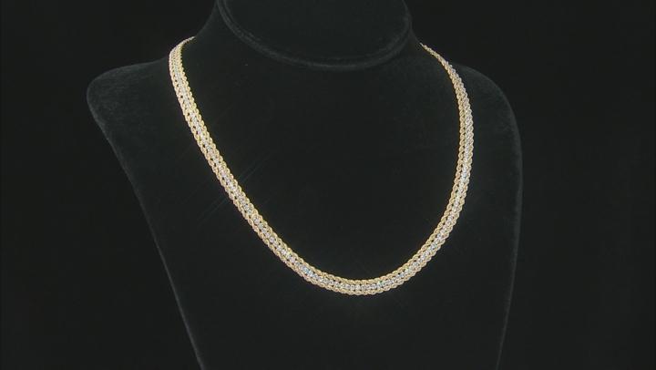 "Cubic Zirconia 14K Yellow Gold Three-Strand 18"" Necklace"