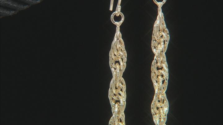 10K Yellow Gold Twist Rope Drop Earrings